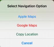 Navigation options menu