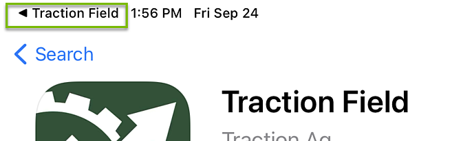 Return to Traction Field from app store