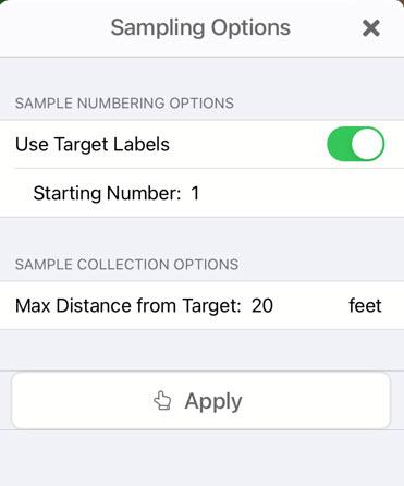 Sampling options menu
